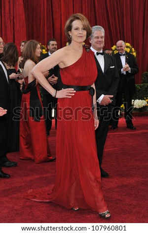 LOS ANGELES, CA - MARCH 7, 2010: Sigourney Weaver at the 82nd Annual Academy Awards at the Kodak Theatre, Hollywood.