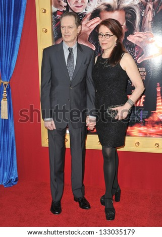 """LOS ANGELES, CA - MARCH 11, 2013: Steve Buscemi & wife at the world premiere of his movie """"The Incredible Burt Wonderstone"""" at the Chinese Theatre, Hollywood. - stock photo"""