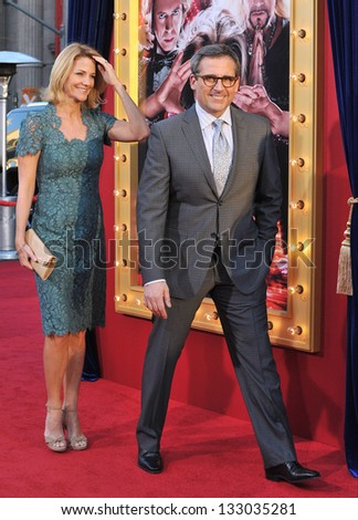 """LOS ANGELES, CA - MARCH 11, 2013: Steve Carell & wife at the world premiere of his movie """"The Incredible Burt Wonderstone"""" at the Chinese Theatre, Hollywood. - stock photo"""