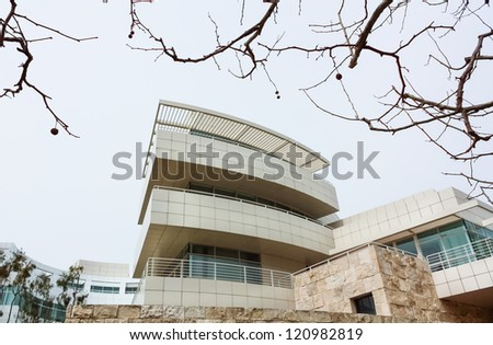 LOS ANGELES, CA - MARCH 21:The Getty Center is a museum founded by noted oilman J. Paul Getty.  The center overlooks Los Angeles and is known for architecture, gardens, and city views. March 21, 2010. - stock photo