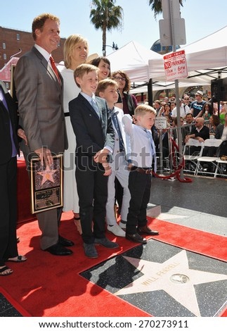 LOS ANGELES, CA - MARCH 24, 2015: Will Ferrell & family on Hollywood Boulevard where he was honored with the 2,547th star on the Hollywood Walk of Fame.  - stock photo