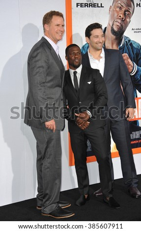 "LOS ANGELES, CA - MARCH 25, 2015: Will Ferrell (left), Kevin Hart & director Etan Cohen at the Los Angeles premiere of their movie ""Get Hard"" at the TCL Chinese Theatre, Hollywood. - stock photo"