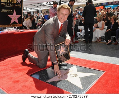 LOS ANGELES, CA - MARCH 24, 2015: Will Ferrell on Hollywood Boulevard where he was honored with the 2,547th star on the Hollywood Walk of Fame.  - stock photo
