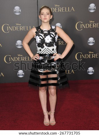 "LOS ANGELES, CA - MARCH 1, 2015: Willow Shields at the world premiere of ""Cinderella"" at the El Capitan Theatre, Hollywood.  - stock photo"