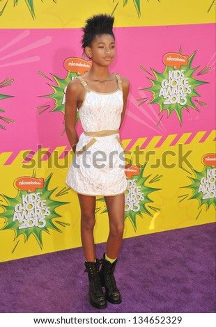 LOS ANGELES, CA - MARCH 23, 2013: Willow Smith, daughter of Will Smith & Jada Pinkett Smith, at Nickelodeon's 26th Annual Kids' Choice Awards at the Galen Centre, Los Angeles. - stock photo