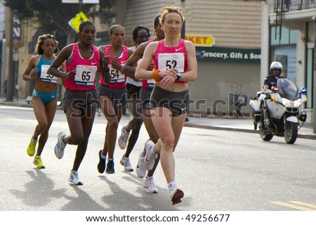 LOS ANGELES, CA - MARCH 22: Women's leading pack at 2010 LA marathon including winner Edna Kiplagat on March 22, 2010 in Los Angeles, California - stock photo