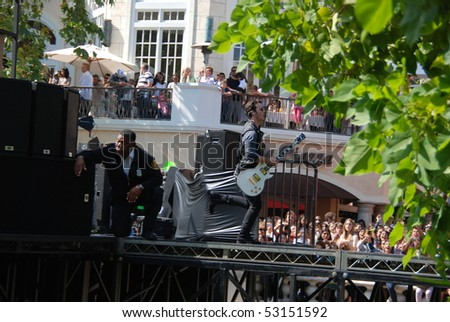 LOS ANGELES, CA- MAY 15: Kevin Jonas performs at The Jonas Brothers summer tour kickoff at The Grove on May 15, 2010 in Los Angeles, California. - stock photo