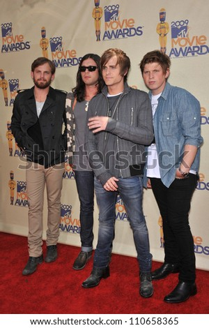 LOS ANGELES, CA - MAY 31, 2009: Kings of Leon at the 2009 MTV Movie Awards at Universal Studios Hollywood. - stock photo