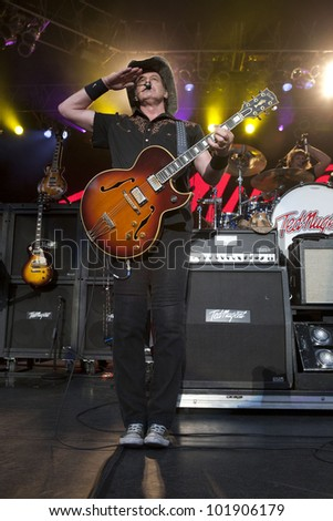 LOS ANGELES, CA - MAY 06: Ted Nugent performs at the Greek Theatre on May 6, 2012 in Los Angeles, CA. - stock photo