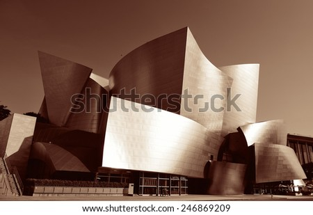 Los Angeles, CA - MAY 18: Walt Disney Concert Hall in Downtown on May 18, 2014 in Los Angeles. Los Angeles is the second-most populous city after New York in USA. - stock photo