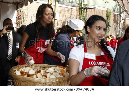 LOS ANGELES, CA - NOV 23: Kim Kardashian at the Los Angeles Mission's 75th anniversary celebration, serving of it's traditional Thanksgiving meal on November 23, 2011 in Los Angeles, California
