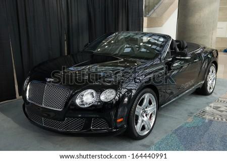 LOS ANGELES, CA - NOVEMBER 20: A Bentley Continental GTC QNX concept car on exhibit at the Los Angeles Auto Show in Los Angeles, CA on November 20, 2013 - stock photo
