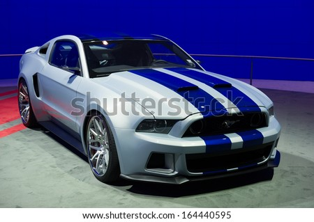 LOS ANGELES, CA - NOVEMBER 20: A Ford Mustang on exhibit at the Los Angeles Auto Show in Los Angeles, CA on November 20, 2013 - stock photo