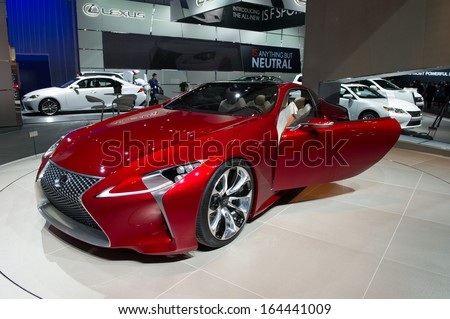 LOS ANGELES, CA - NOVEMBER 20: A Lexus LF-LC hybrid concept car on exhibit at the Los Angeles Auto Show in Los Angeles, CA on November 20, 2013 - stock photo