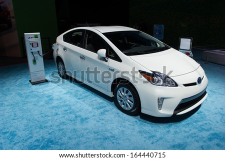 LOS ANGELES, CA - NOVEMBER 20: A Toyota Prius Plug-In on exhibit at the Los Angeles Auto Show in Los Angeles, CA on November 20, 2013