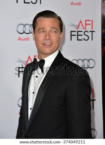 "LOS ANGELES, CA - NOVEMBER 5, 2015: Actor Brad Pitt at the AFI Festival premiere of his movie ""By the Sea"" at the TCL Chinese Theatre, Hollywood.