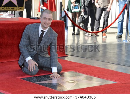 LOS ANGELES, CA - NOVEMBER 12, 2015: Actor Daniel Radcliffe on Hollywood Boulevard where actor he was honored with the 2,565th star on the Hollywood Walk of Fame. 