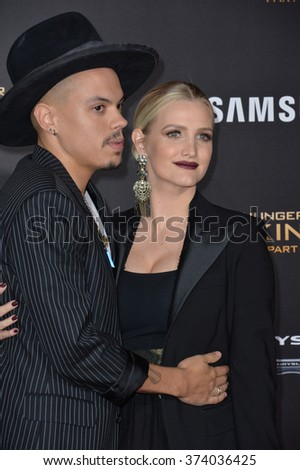 """LOS ANGELES, CA - NOVEMBER 16, 2015: Actor Evan Ross & wife actress/singer Ashlee Simpson at the Los Angeles premiere of """"The Hunger Games: Mockingjay - Part 2"""" at the Microsoft Theatre, LA Live.   - stock photo"""