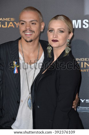 """LOS ANGELES, CA - NOVEMBER 16, 2015: Actor Evan Ross & wife actress/singer Ashlee Simpson at the premiere of """"The Hunger Games: Mockingjay - Part 2"""" - stock photo"""