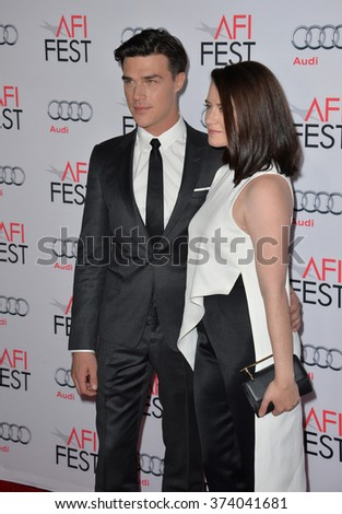 "LOS ANGELES, CA - NOVEMBER 12, 2015: Actor Finn Wittrock & wife Sarah Roberts at the world premiere of his movie ""The Big Short"", part of the AFI FEST 2015 at the TCL Chinese Theatre, Hollywood."