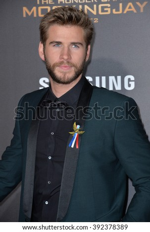 "LOS ANGELES, CA - NOVEMBER 16, 2015: Actor Liam Hemsworth at the premiere of ""The Hunger Games: Mockingjay - Part 2"" - stock photo"