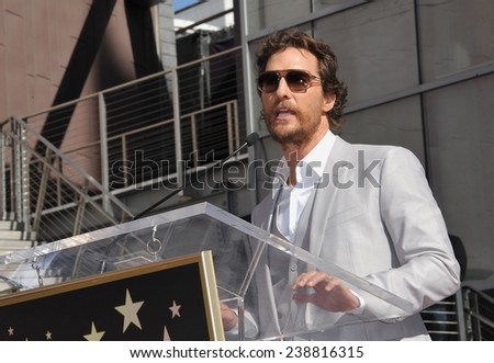 LOS ANGELES, CA - NOVEMBER 17, 2014: Actor Matthew McConaughey on Hollywood Boulevard where he was honored with the 2,534th star on the Hollywood Walk of Fame.