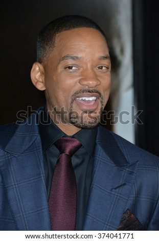 """LOS ANGELES, CA - NOVEMBER 10, 2015: Actor Will Smith at the premiere of his movie """"Concussion"""", part of the AFI FEST 2015, at the TCL Chinese Theatre, Hollywood. - stock photo"""