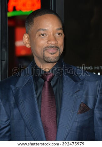 """LOS ANGELES, CA - NOVEMBER 10, 2015: Actor Will Smith at the premiere of his movie """"Concussion"""" at the TCL Chinese Theatre - stock photo"""