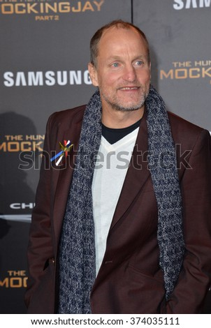 """LOS ANGELES, CA - NOVEMBER 16, 2015: Actor Woody Harrelson at the Los Angeles premiere of his movie """"The Hunger Games: Mockingjay - Part 2"""" at the Microsoft Theatre, LA Live.  - stock photo"""