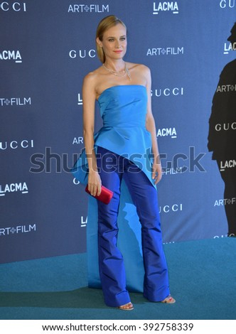 LOS ANGELES, CA - NOVEMBER 7, 2015: Actress Diane Kruger at the 2015 LACMA Art+Film Gala at the Los Angeles County Museum of Art - stock photo