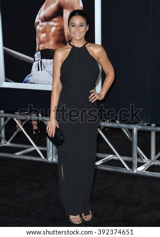 "LOS ANGELES, CA - NOVEMBER 19, 2015: Actress Emmanuelle Chriqui at the premiere of ""Creed"""