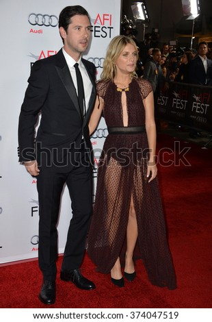 "LOS ANGELES, CA - NOVEMBER 5, 2015: Actress Melanie Laurent & actor Melvil Poupaud at the AFI Festival premiere of their movie ""By the Sea"" at the TCL Chinese Theatre, Hollywood."