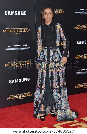 """LOS ANGELES, CA - NOVEMBER 16, 2015: Actress Meta Golding at the Los Angeles premiere of her movie """"The Hunger Games: Mockingjay - Part 2"""" at the Microsoft Theatre, LA Live.  - stock photo"""
