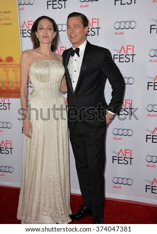 """LOS ANGELES, CA - NOVEMBER 5, 2015: Actress/writer/director Angelina Jolie & actor husband Brad Pitt at the AFI Festival premiere of their movie """"By the Sea"""" at the TCL Chinese Theatre, Hollywood. - stock photo"""