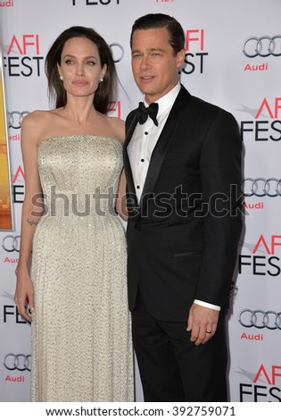 """LOS ANGELES, CA - NOVEMBER 5, 2015: Actress/writer/director Angelina Jolie & actor husband Brad Pitt at the AFI Festival premiere of their movie """"By the Sea"""" at the TCL Chinese Theatre - stock photo"""