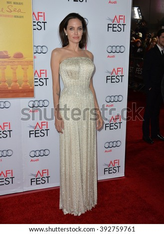 "LOS ANGELES, CA - NOVEMBER 5, 2015: Actress/writer/director Angelina Jolie at the AFI Festival premiere of her movie ""By the Sea"" at the TCL Chinese Theatre"