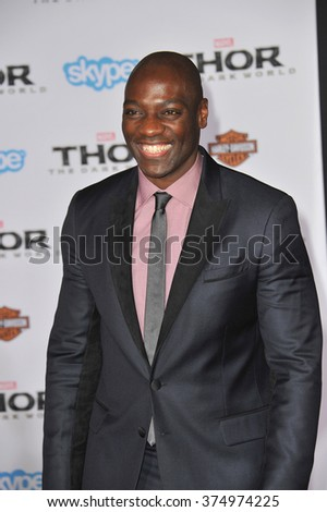 "LOS ANGELES, CA - NOVEMBER 4, 2013: Adewale Akinnuoye-Agbaje at the US premiere of his movie ""Thor: The Dark World"" at the El Capitan Theatre, Hollywood. Picture: Paul Smith / Featureflash - stock photo"