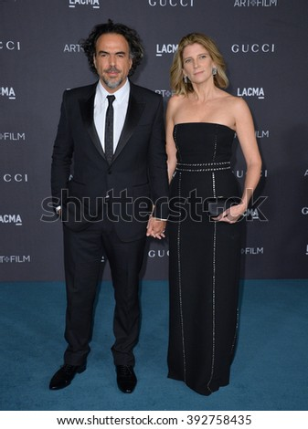 LOS ANGELES, CA - NOVEMBER 7, 2015: Alejandro Gonzalez Inarritu & wife Maria Eladia Hagerman at the 2015 LACMA Art+Film Gala at the Los Angeles County Museum of Art