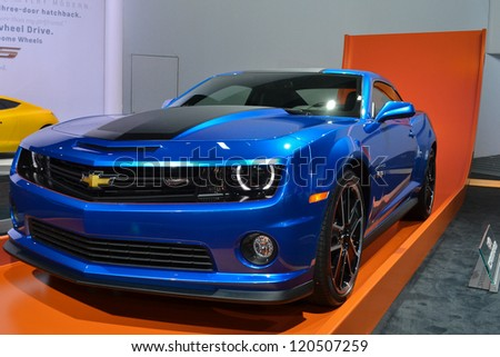LOS ANGELES, CA. - NOVEMBER 30:  Chevrolet Camaro Hot Wheels on display  at the 2012 Los Angeles Auto Show on November 30, 2012 at the L.A. Convention Center in Los Angeles. - stock photo