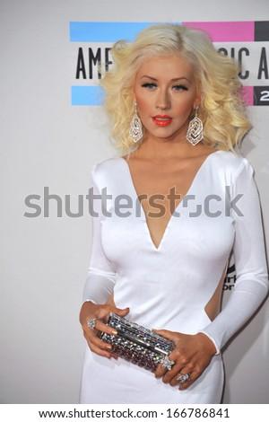 LOS ANGELES, CA - NOVEMBER 24, 2013: Christina Aguilera at the 2013 American Music Awards at the Nokia Theatre, LA Live.  - stock photo