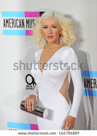 LOS ANGELES, CA - NOVEMBER 24, 2013: Christina Aguilera at the 2013 American Music Awards at the Nokia Theatre, LA Live.