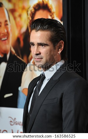 "LOS ANGELES, CA - NOVEMBER 7, 2013: Colin Farrell at the premiere of his movie ""Saving Mr Banks"", the opening movie of the AFI FEST 2013, at the TCL Chinese Theatre, Hollywood."