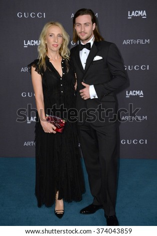 LOS ANGELES, CA - NOVEMBER 7, 2015: Director Sam Taylor-Johnson (left) & actor Aaron Taylor-Johnson at the 2015 LACMA Art+Film Gala at the Los Angeles County Museum of Art.