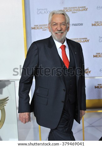 "LOS ANGELES, CA - NOVEMBER 17, 2014: Donald Sutherland at the Los Angeles premiere of his movie ""The Hunger Games: Mockingjay Part One"" at the Nokia Theatre LA Live. - stock photo"