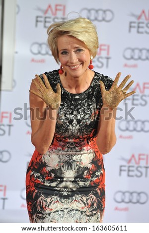 LOS ANGELES, CA - NOVEMBER 7, 2013: Emma Thompson at the TCL Chinese Theatre where she was honored by having her hand & footprints set in cement.