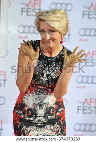 LOS ANGELES, CA - NOVEMBER 7, 2013: Emma Thompson at the TCL Chinese Theatre where she was honored by having her hand & footprints set in cement. Picture: Paul Smith / Featureflash