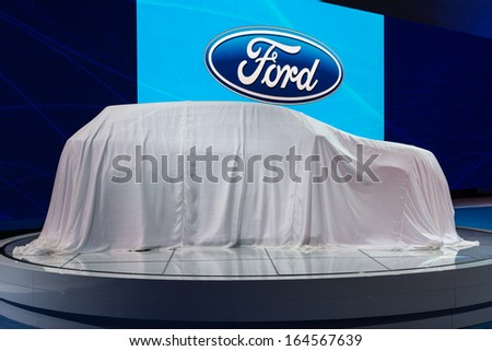 LOS ANGELES, CA. NOVEMBER 20:Ford debut car on display at the LA Auto Show LA Auto Show at the L.A. Convention Center on November 20, 2013 in Los Angeles, CA - stock photo