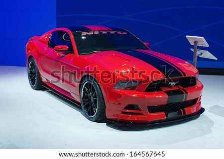LOS ANGELES, CA. NOVEMBER 20:Ford Mustang Nitto 420HP 5L V8 car on display at the LA Auto Show LA Auto Show at the L.A. Convention Center on November 20, 2013 in Los Angeles, CA - stock photo