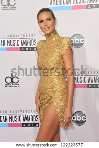 LOS ANGELES, CA - NOVEMBER 18, 2012: Heidi Klum at the 40th Anniversary American Music Awards at the Nokia Theatre LA Live.