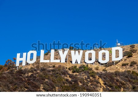 LOS ANGELES, CA - NOVEMBER 19, 2013: Hollywood sigh white letters on Mount Lee seen on November 19, 2013 in Los Angeles, California. - stock photo